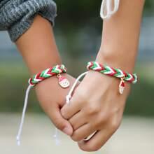 2pcs Parent-girls Christmas Santa Claus Charm Bracelet