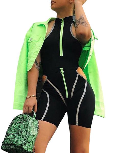 Milanoo Pantalones cortos de mameluco negros Contraste de color Corte sin espalda Cremallera Mono corto de verano