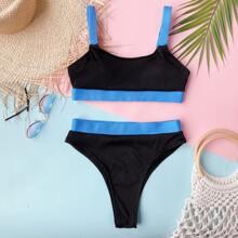 Rib Color Block Bikini Swimsuit