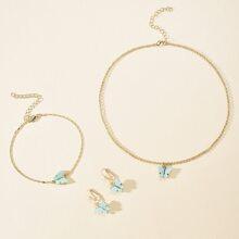 4pcs Butterfly Charm Jewelry Set