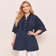 Plus Polka Dot Frill Trim Butterfly Sleeve Blouse
