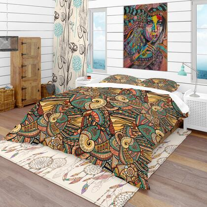 BED18791-T Designart 'Abstract Pattern With Marine Inhabitants' Bohemian & Eclectic Duvet Cover