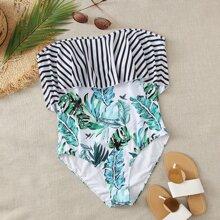 Einteiliger Badeanzug mit tropischem & Streifen Muster und Neckholder