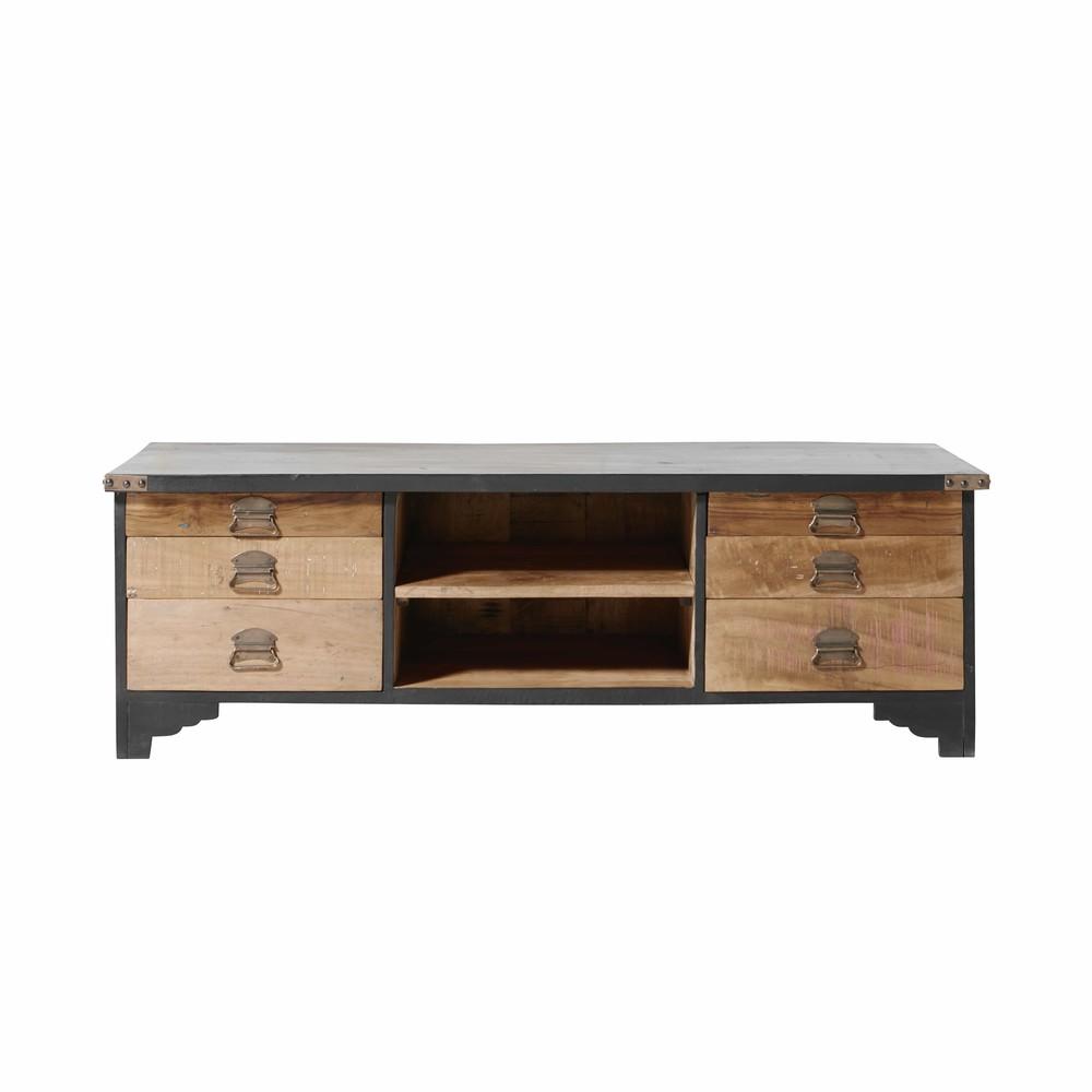 TV-Mobel mit 6 Schubladen aus schwarzem Mangoholz und Recyclingholz Cheyenne