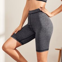 Space Dye Contrast Topstitching Sports Leggings