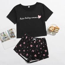 Slogan And Heart Print PJ Set