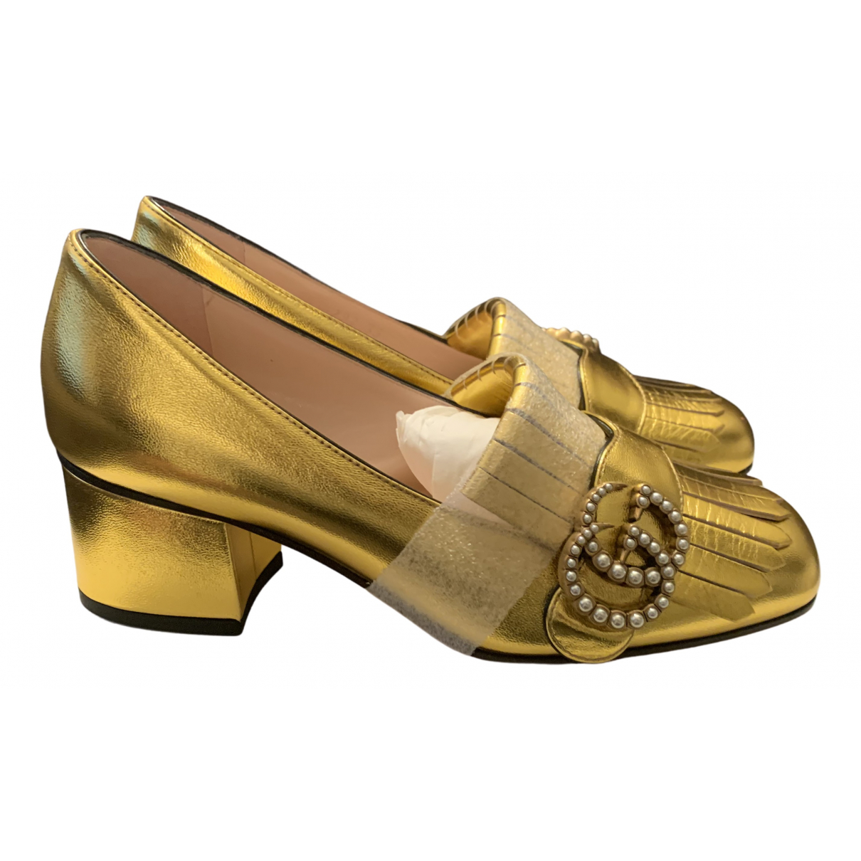 Gucci Marmont Pumps in  Gold Leder