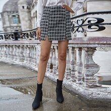 Plaid Split Hem Tweed Skirt