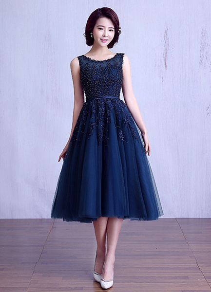 Milanoo Blue Prom Dress 2020 Short Lace Applique Graduation Dress Tulle Dark Navy Sash Tea Length Homecoming Dress