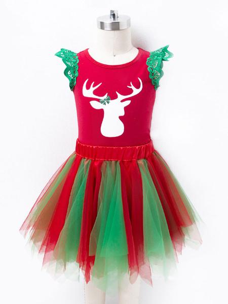 Milanoo Kid Christmas Set Print Two Tone Lace Tutu Dress Cotton Christmas Holidays Costumes