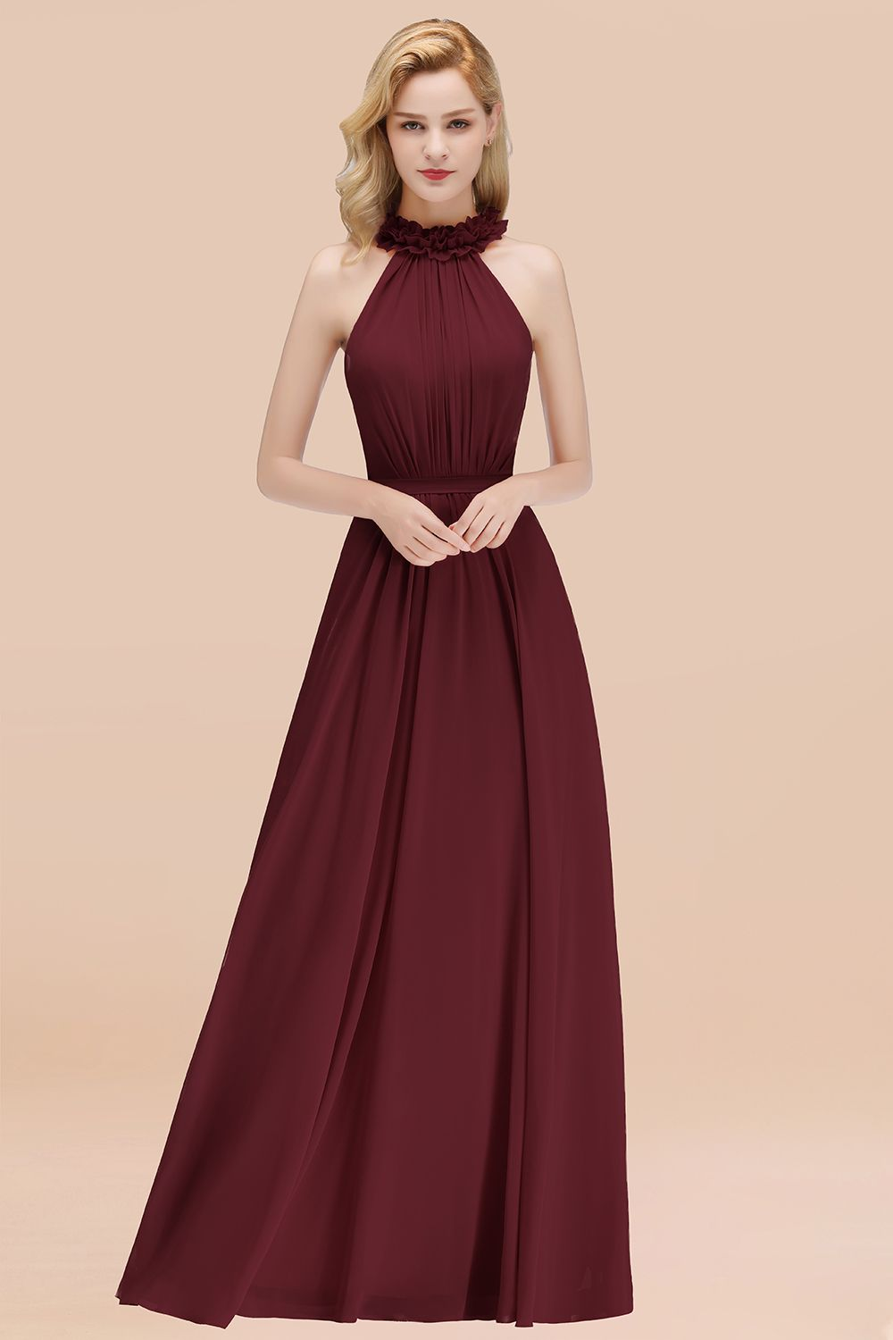 BMbridal Modest High-Neck Halter Ruffle Chiffon Bridesmaid Dresses Affordable
