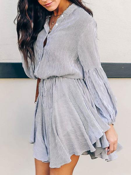 Milanoo Mini vestidos de manga larga de albaricoque imprimio el vestido corto de poliester