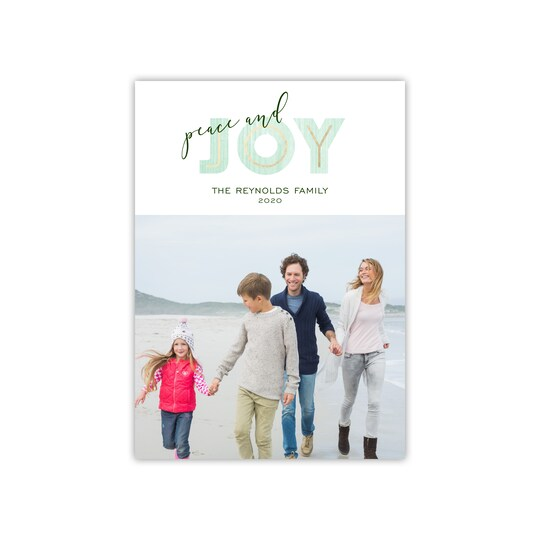 20 Pack of Gartner Studios® Personalized Modern Joy Holiday Photo Card in Mint | 5