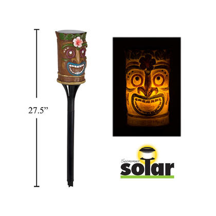 Solar LED Flame Tiki Torch, Polyresin, 4.7