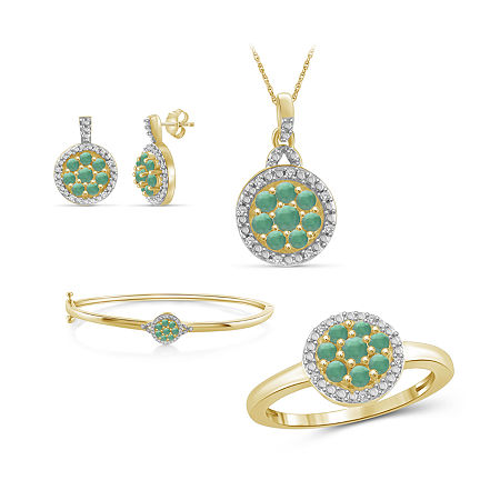 1/10 CT. T.W. Genuine Green Emerald 14K Gold Over Silver 4-pc. Jewelry Set, 7 , No Color Family