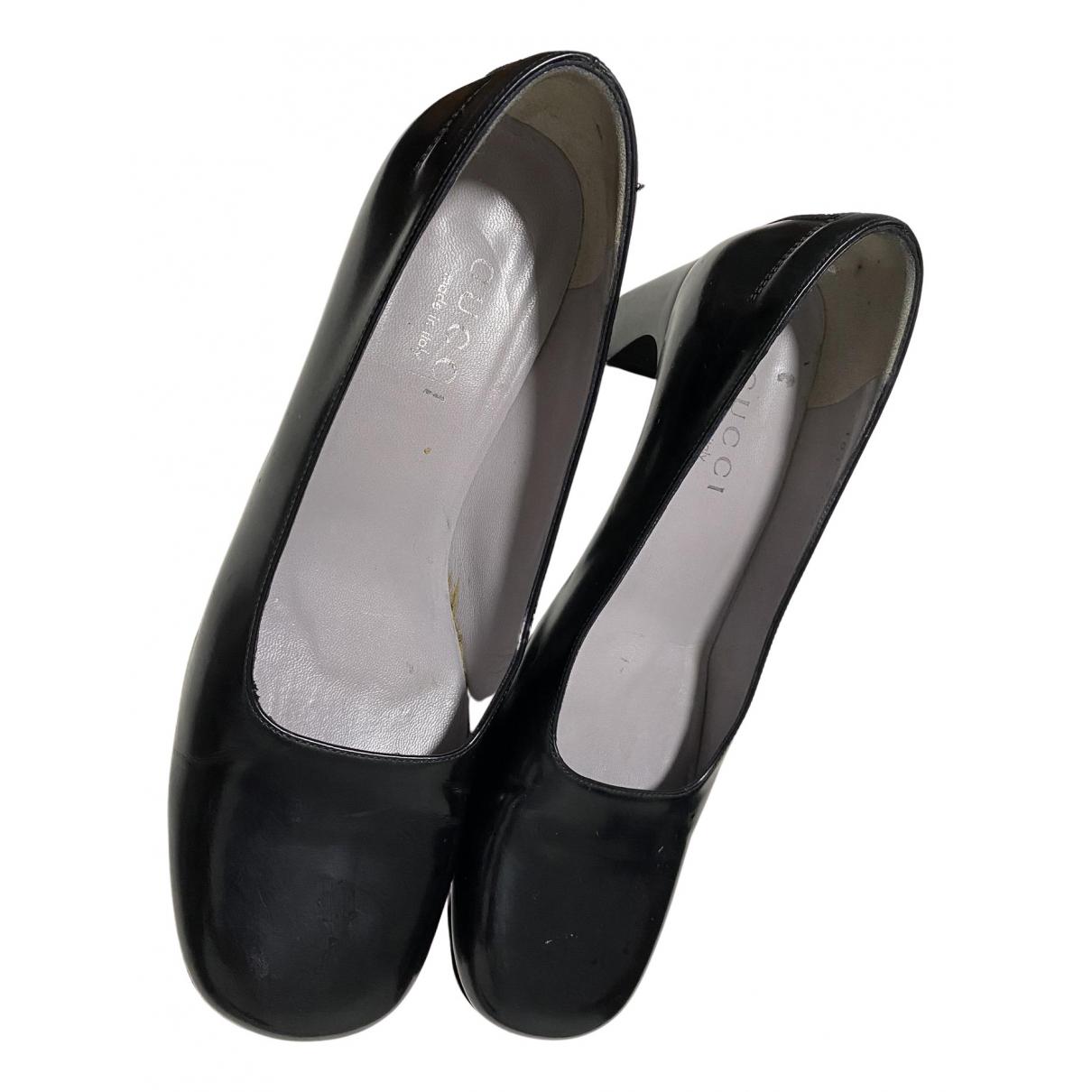 Gucci N Black Leather Heels for Women 37.5 EU