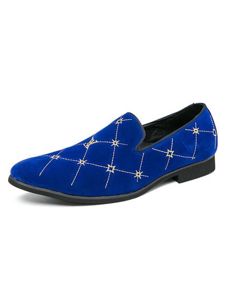 Milanoo Zapatos holgados para hombre Zapatos de vestir de cuero PU sin cordones bordados a cuadros azules comodos Zapatos de fiesta