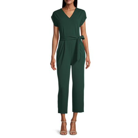 London Style Short Sleeve Jumpsuit, 10 , Green