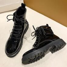 Lace-up Lug Sole Combat Boots