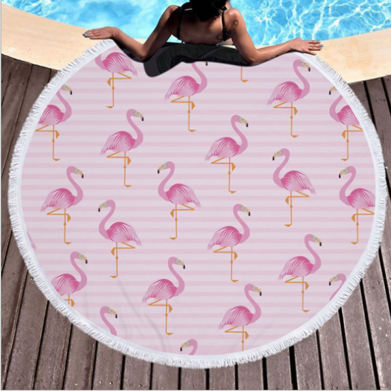 Flamingo Pattern Cotton Round Beach Throws Blanket with Tassels Superior Quality
