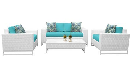 Miami MIAMI-05f-ARUBA 5-Piece Wicker Patio Furniture Set 05f with 2 Club Chairs  Left Arm Chair  Right Arm Chair and 1 Coffee Table - Sail White and