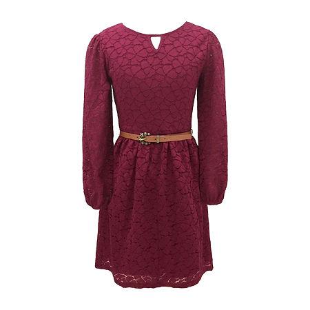 Amy Byer Big Girls Long and Puffed Sleeve Skater Dress, 8 , Purple
