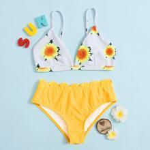 Girls Sunflower Print Scallop Trim Bikini Swimsuit