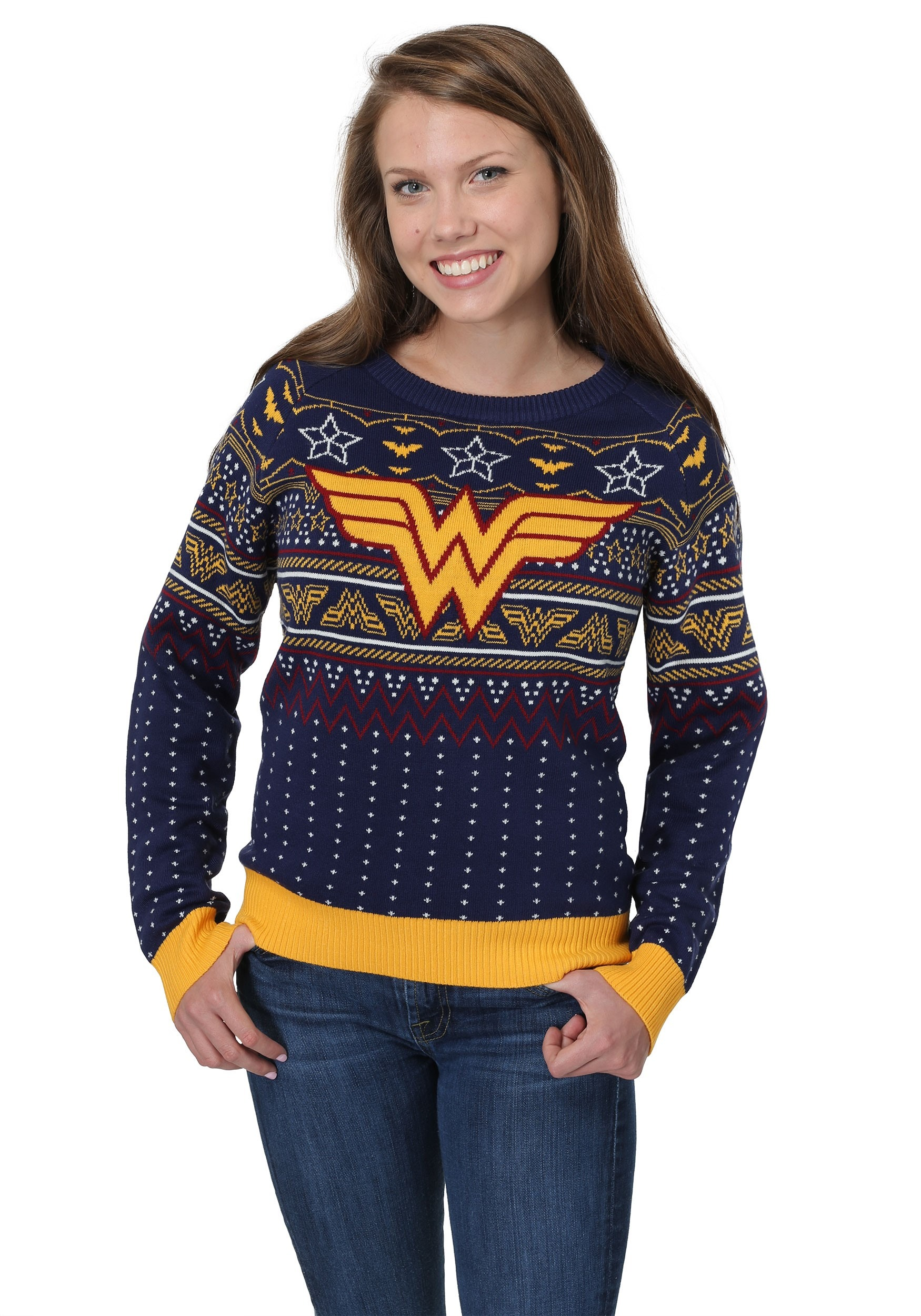 Wonder Woman Navy Ugly Christmas Sweater for Women