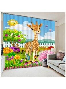 3D Cute Elks Butterflies and Sunflowers Printed Cartoon Style Blackout Custom Curtain