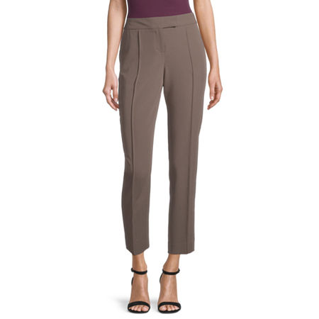 Worthington Womens Straight Fit Ankle Pant, 12 , Beige