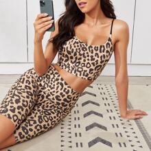 Leopard Print Sports Bra With Biker Shorts