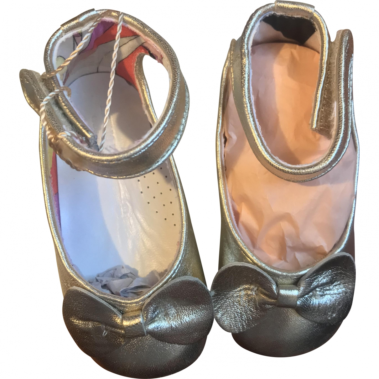 Emilio Pucci \N Gold Leather Ballet flats for Kids 18 EU