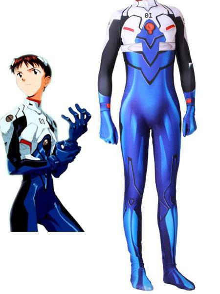 Milanoo New Genesis Evangelion Blue  Jumpsuit Set Adult\'s New Genesis Evangelion Cosplay Costumes Halloween