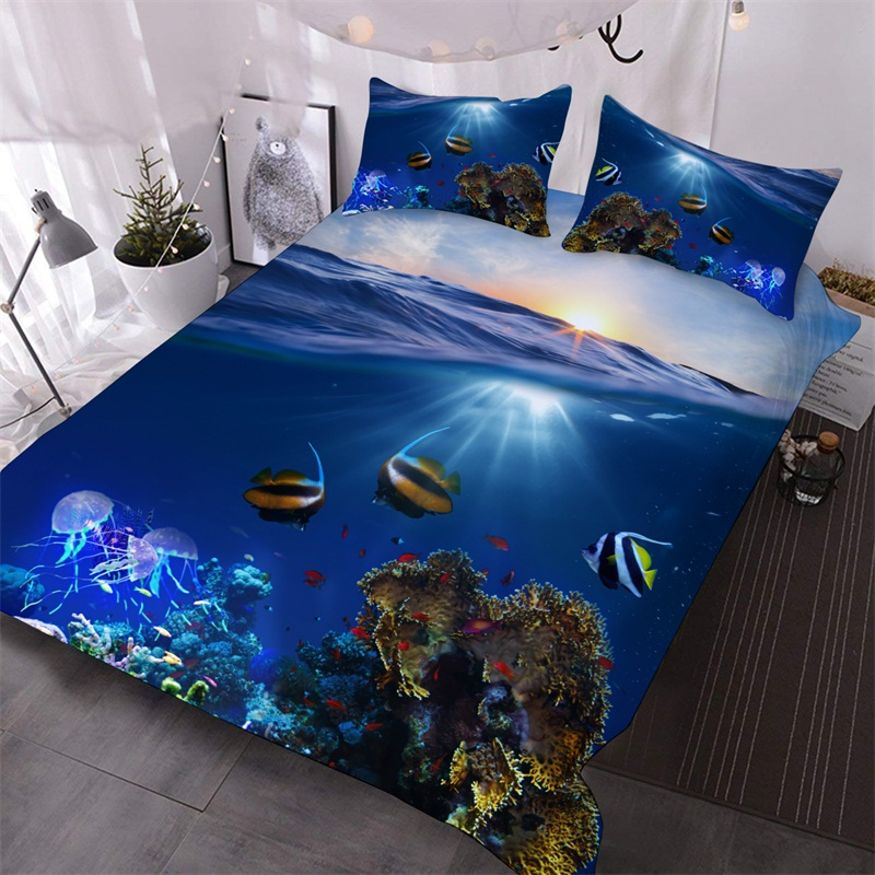 The Underwater World Seen Through The Sea 3D Printed 3-Piece Polyester Comforter Sets