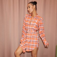 Single Breasted D-ring Belted Tartan Shirt Dress