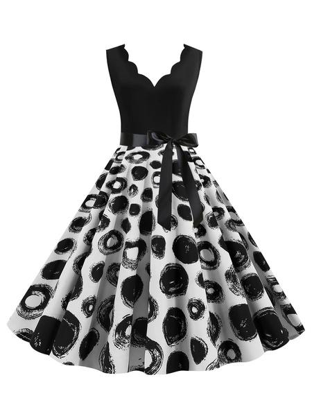 Milanoo Retro Dress 1950s Black Print Sash Sleeveless V Neck Swing Dress