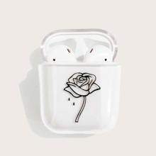 Funda de Airpods transparente con patron de flor