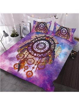 Dream Catcher In The Purple Galaxy Printed 3-Piece Comforter Sets