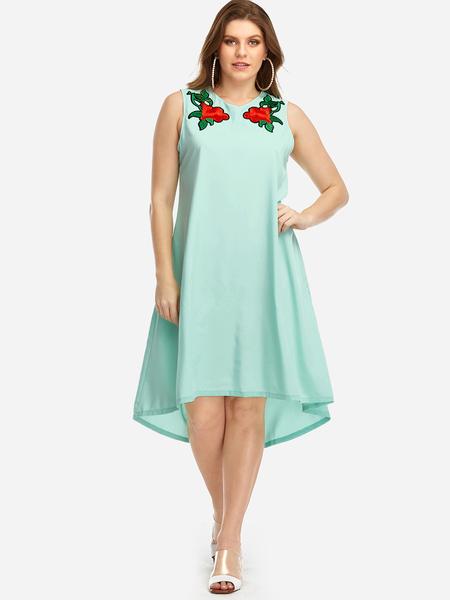 Yoins Plus Size Aquamarine Floral Embroidered Sleeveless Dress