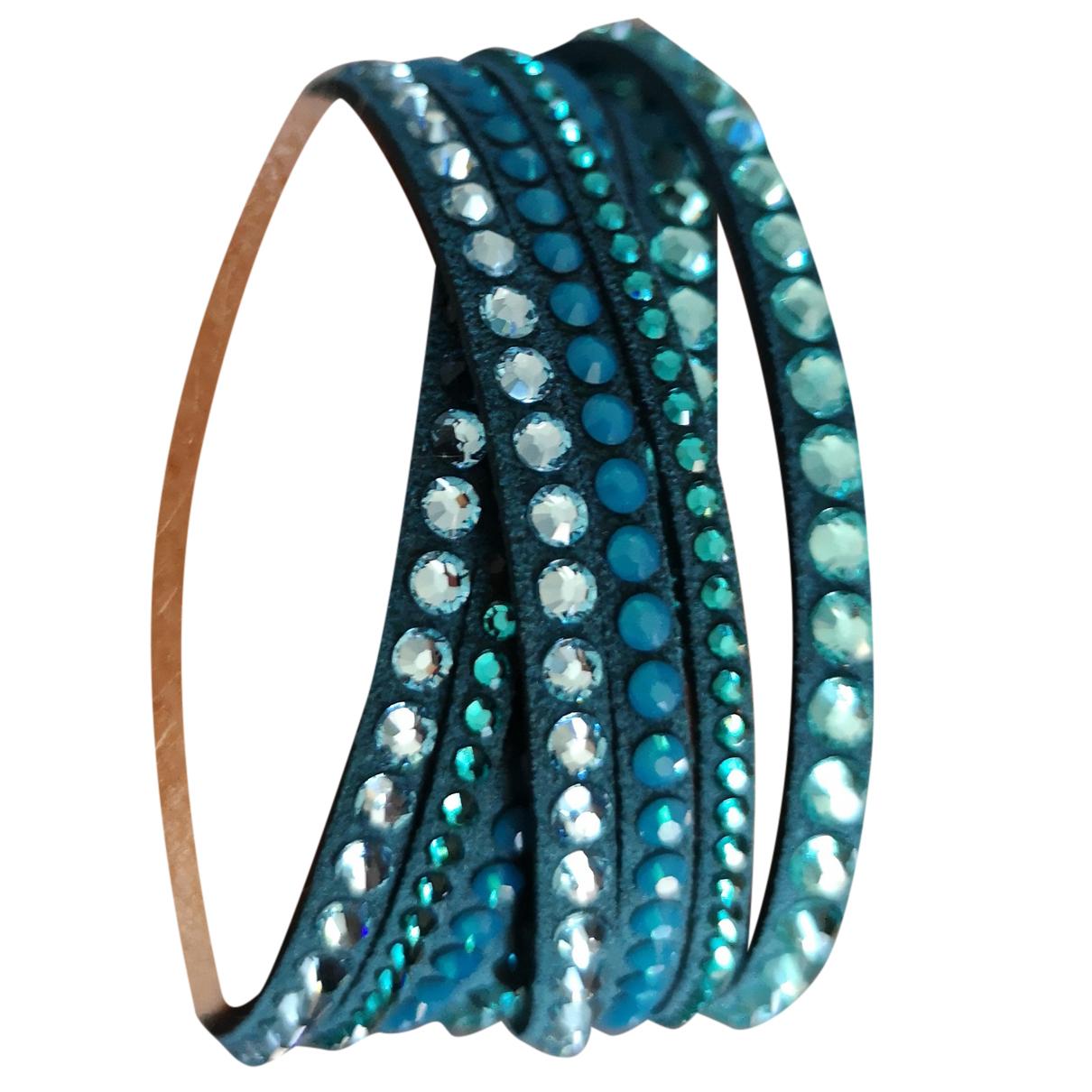 Swarovski Slake Armband in  Gruen Leder