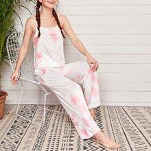 Tie Dye Print Pants Pajama Set