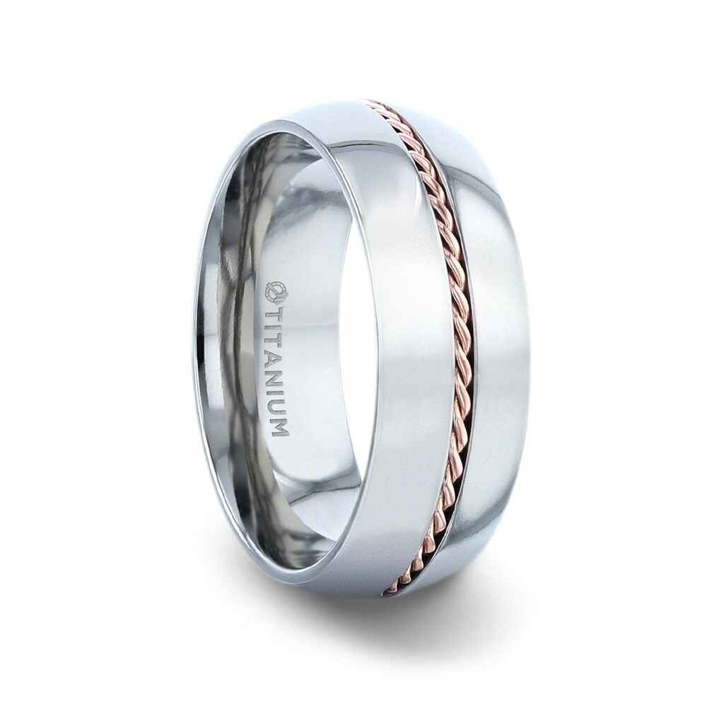 Conductor Titanium Domed Polished Wedding Ring With 14k Rose Gold Braided Inlay - 8mm (8)
