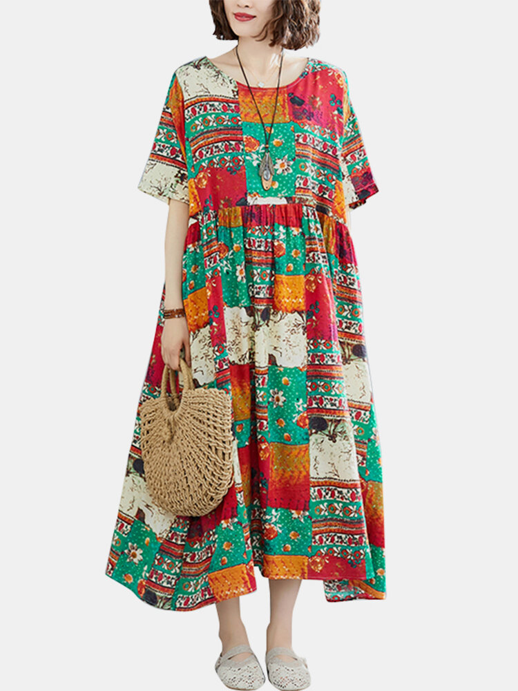 Patch Printed O-neck Short Sleeve Midi Dress