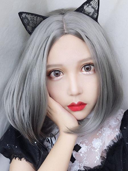 Milanoo Harajuku Fashion Lolita Wig Gray Central Parting Lolita Hair Wigs