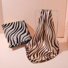 2pcs Zebra Stripe Printed Square Scarf