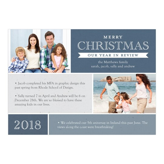 20 Pack of Gartner Studios® Personalized Our Year In Review Christmas Flat Photo Card in Navy Blue | 5