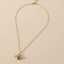 Rhinestone Decor Bee Charm Necklace