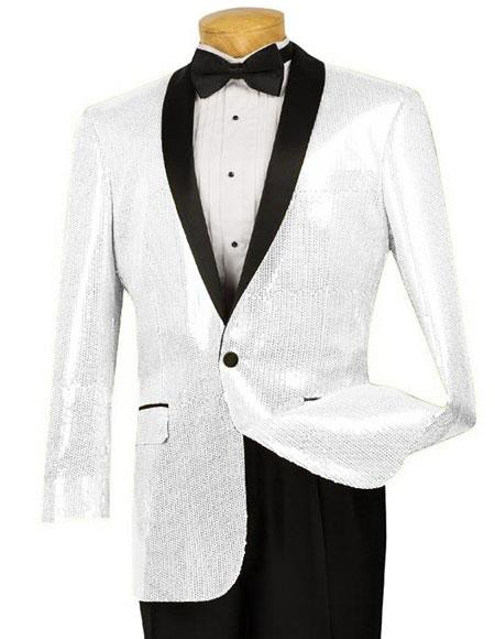 Mens Black Blazer Sport Coat Tuxedo Dinner Jacket Sequin Shiny Paisley
