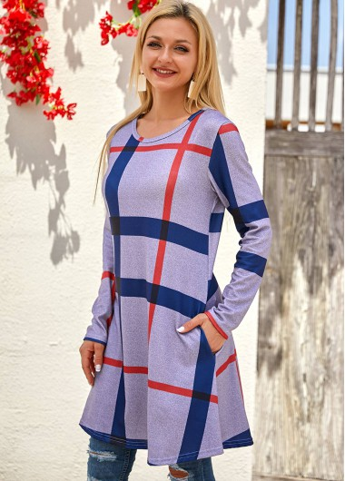 Cocktail Party Dress Long Sleeve Plaid Round Neck Pocket Dress - S