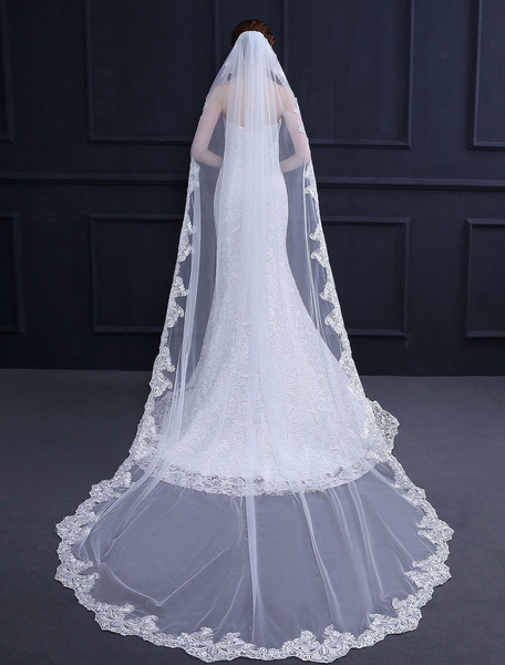Milanoo Long Wedding Veil Comb Cathedral Ecru White Tulle Lace Applique One Tier Bridal Accessories